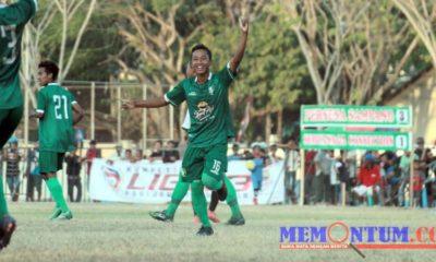 Selebrasi pemain Persesa Sampang setelah mencetak gol saat melawan Suryanaga Connection Di Lapangan Wijaya Kusuma, 25 Agustus silam. (dok)