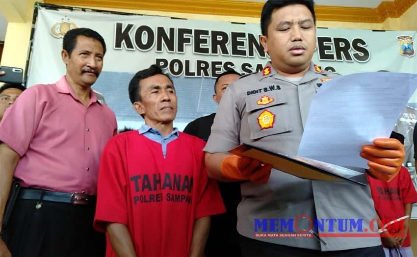 Supardi (tengah) tersangka pengedar sabu yang berhasil ditangkap Timsus Satresnarkoba Polres Sampang. (zyn)